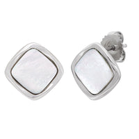 Sabel Pearl Sterling Silver Mother-of-Pearl Diamond Shape Stud Earrings