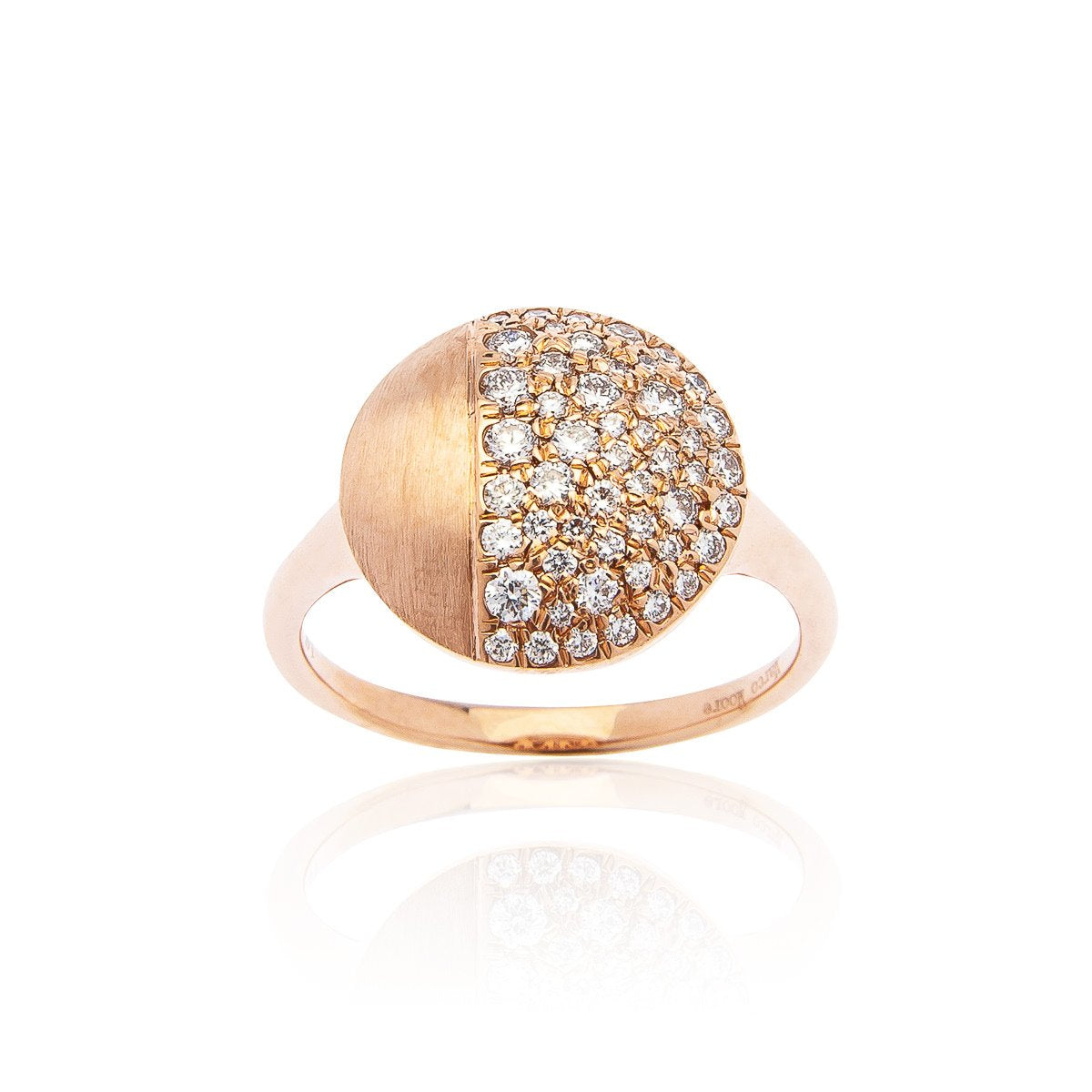 Marco Moore 14K Rose Gold Diamond Cluster Satin Ring