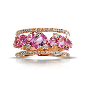 Marco Moore 14K Rose Gold Oval Pink Sapphire and Round Diamond Multi-Row Ring