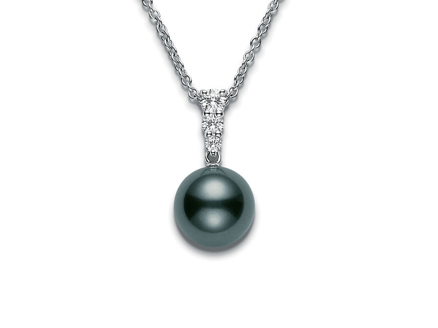 Mikimoto Morning Dew 8mm Black South Sea Pearl and Diamond Pendant