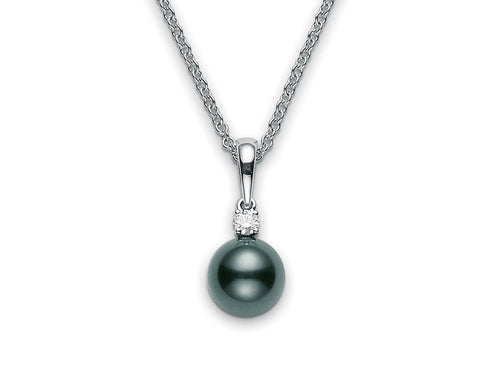 Mikimoto 8mm Black South Sea Pearl and Diamond Pendant