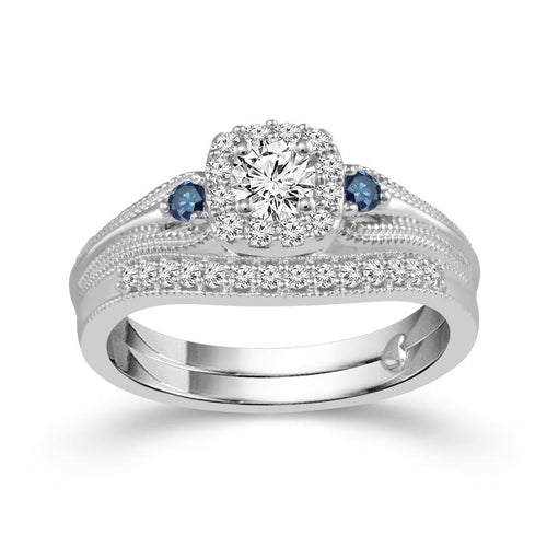 Fink's Exclusive Round Engagement Ring Set with Treated Blue Diamonds