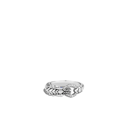 John Hardy Legends Sterling Silver Naga Ring with Diamonds