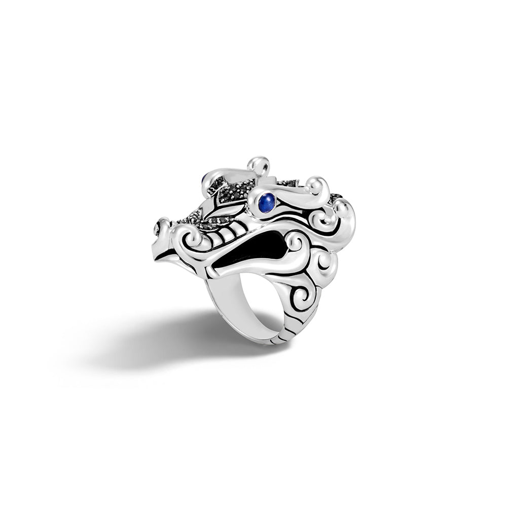 John Hardy Legends Naga Ring with Black Sapphire and Spinel