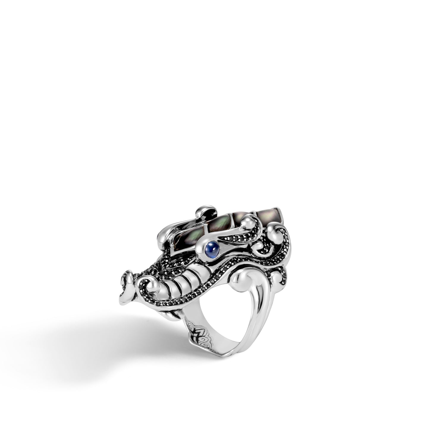 John Hardy Legends Grey Mother-of-Pearl and Black Sapphire Naga Ring