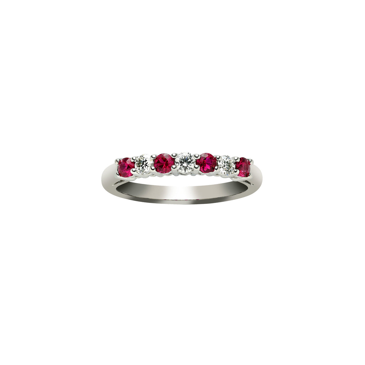 Fink's Platinum Round Ruby and Diamond Prong Set Wedding Band