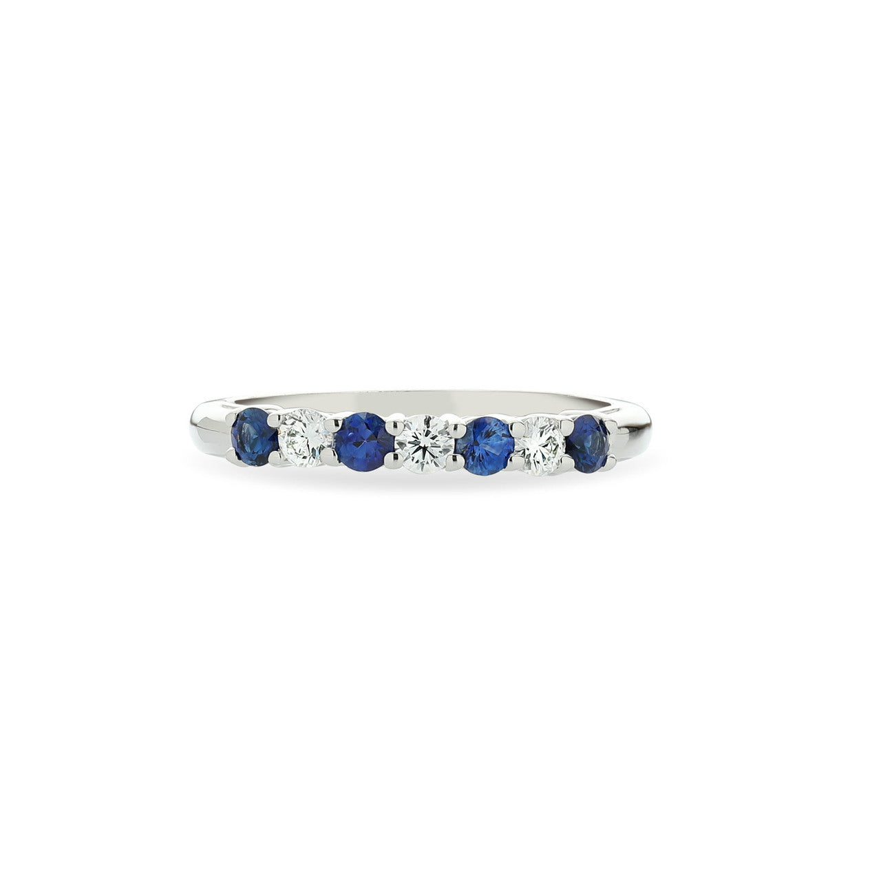 Fink's Platinum Prong Set Round Sapphire and Diamond Wedding Band