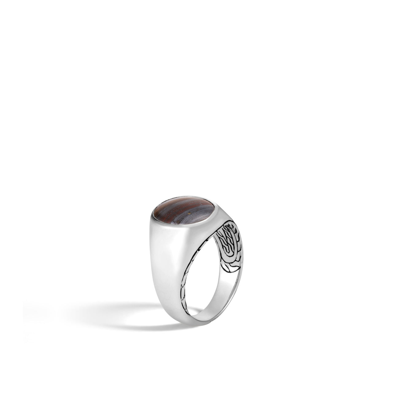 John Hardy Men's Classic Chain Sterling Silver Signet Ring with Tiger's Eye