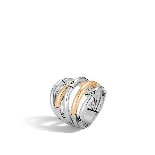 John Hardy Bamboo Sterling Silver and 18K Yellow Gold Crossover Ring