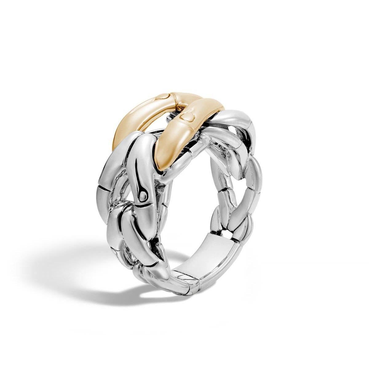 John Hardy Bamboo 18K Yellow Gold and Sterling Silver Hook Ring