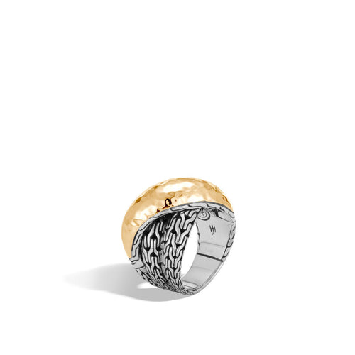 John Hardy Classic Chain Sterling Silver and Yellow Gold Hammered Overlap Ring