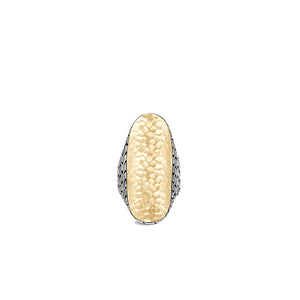 John Hardy Classic Chain 18K Yellow Gold and Sterling Silver Hammered Saddle Ring