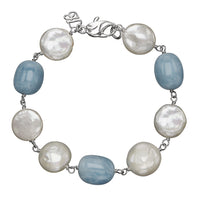 Sabel Pearl White Freshwater Cultured Coin Pearl and Aquamarine Bracelet
