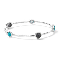 IPPOLITA Rock Candy® Sterling Silver Five Stone Station Bangle in Maritime