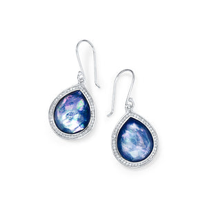 IPPOLITA Lollipop® Gemstone Doublet Teardrop Earrings in Lapis, Clear Quartz, and Mother-of-Pearl Triplet with Diamonds