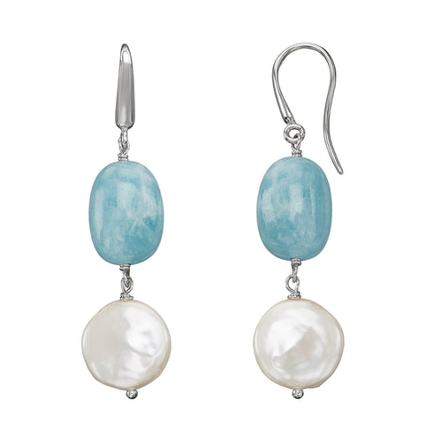 Sabel Pearl Sterling Silver White Coin Pearl and Aquamarine Dangle Earrings
