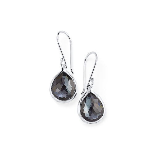 IPPOLITA Rock Candy® Teeny Teardrop Earrings in Hematite and Clear Quartz Doublet