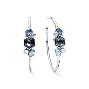 IPPOLITA Rock Candy® Sterling Silver Cluster Stone #3 Hoop Earrings in Eclipse