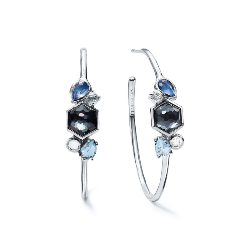 79acb9a34 IPPOLITA Rock Candy® Sterling Silver Cluster Stone #3 Hoop Earrings in  Eclipse