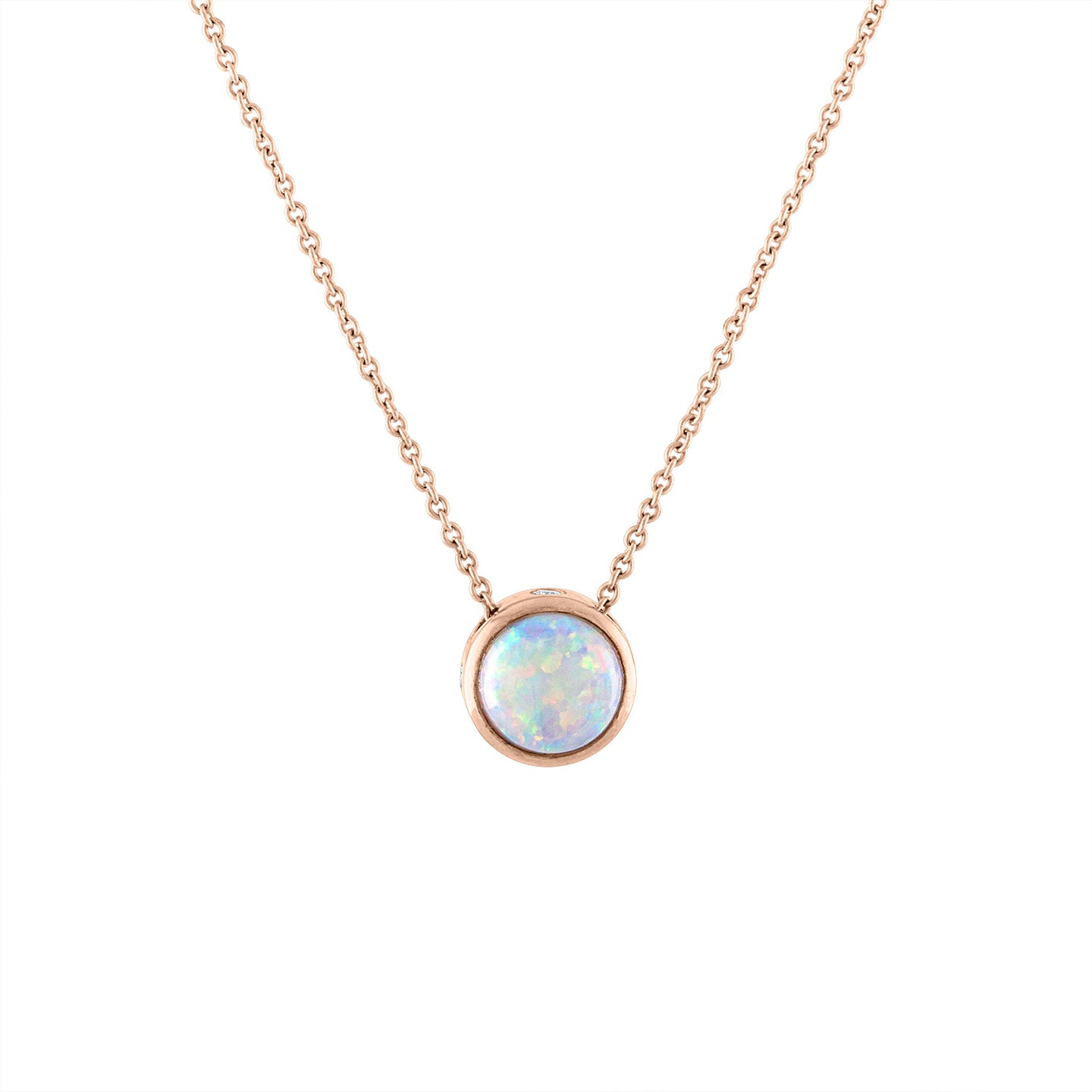 Sabel Collection 14K Rose Gold Bezel Set Opal Pendant with Diamond Inlay Accent
