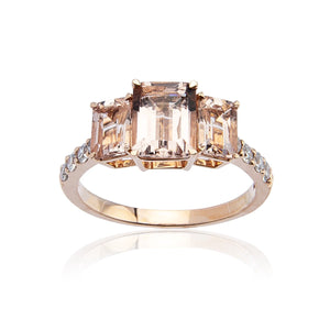 Sabel Collection 14K Rose Gold Emerald Cut Morganite Three Stone Ring