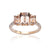 Load image into Gallery viewer, Sabel Collection 14K Rose Gold Emerald Cut Morganite Three Stone Ring