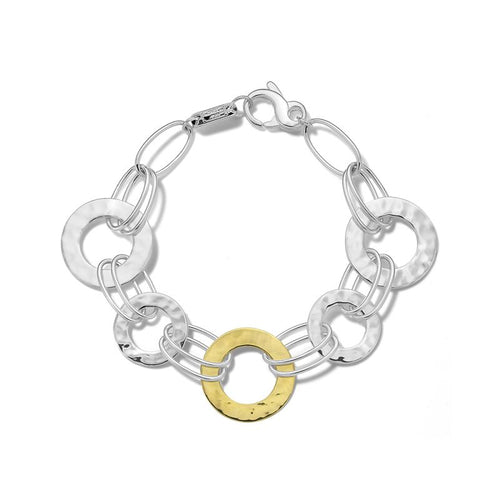 IPPOLITA Chimera Sterling Silver and 18K Yellow Gold Crinkle Hammered Disc Bracelet