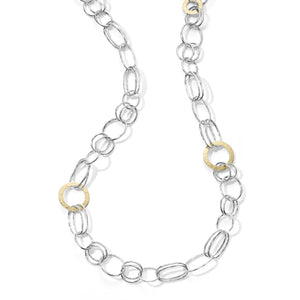 IPPOLITA Chimera Sterling Silver and 18K Yellow Gold Classic Hammered Disc Link Necklace