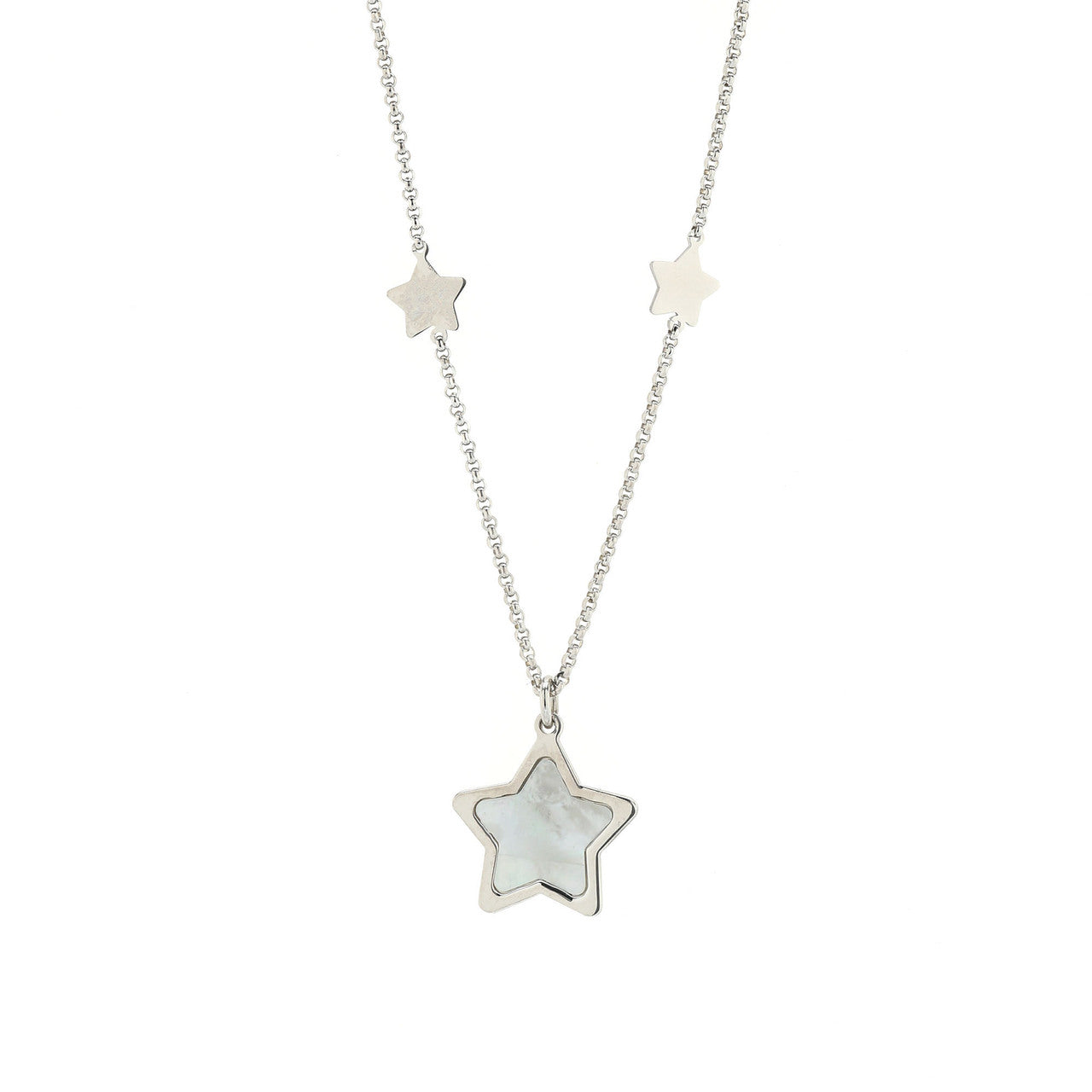 Honora Girls' White Mother-of-Pearl Star Necklace