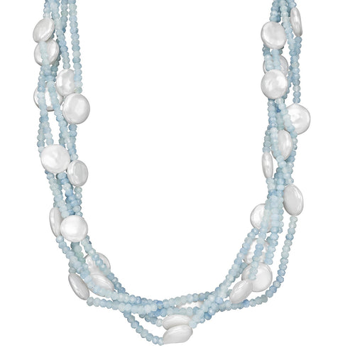 Sabel Pearl White Coin Freshwater Cultured Pearl and Aquamarine Bead Four Row Necklace