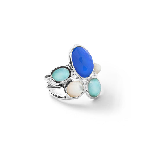 IPPOLITA Wonderland Sterling Silver Five Stone Cluster Ring in Brazilian Blue