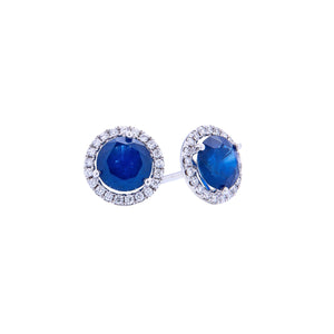 Sabel Collection 18K White Gold Round Sapphire and Diamond Halo Stud Earrings