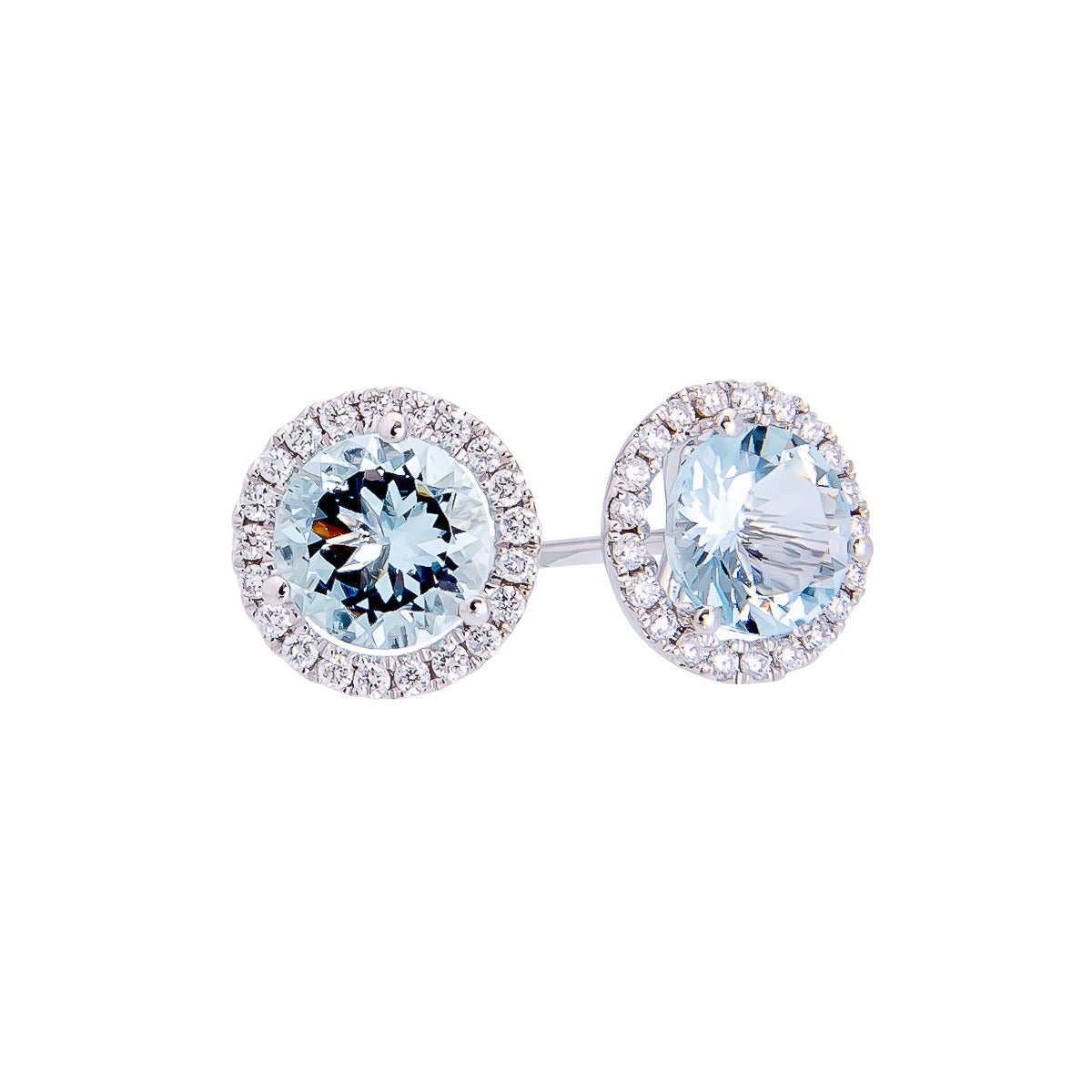 Sabel Collection 14K White Gold Round Aquamarine and Diamond Halo Stud Earrings