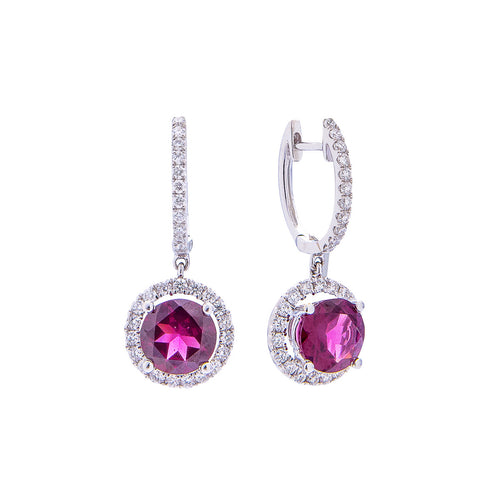 Sabel Collection 18K White Gold Round Rhodolite Garnet and Diamond Halo Dangle Earrings