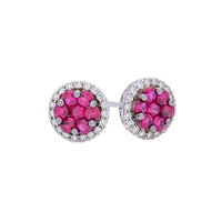 Sabel Collection 18K White Gold Cluster Ruby Stud Earrings with Diamond Halos