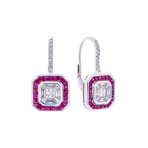 Sabel Collection 18K White Gold Multi-Shape Diamond and Ruby Halo Vintage Style Dangle Earrings
