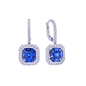 Sabel Collection 18K White Gold Multi-Shape Sapphire and Diamond Halo Dangle Earrings