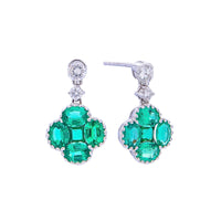 Sabel Collection 18K White Gold Emerald and Diamond Clover Dangle Earrings