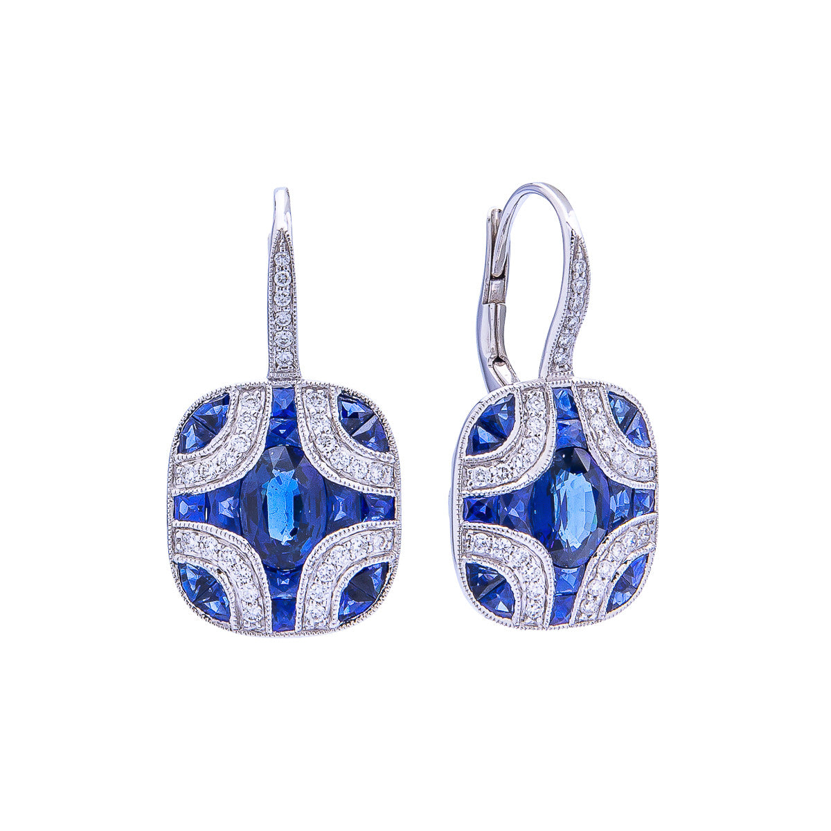 Sabel Collection 18K White Gold Multi-Shape Sapphire with Diamond Accent Dangle Earrings