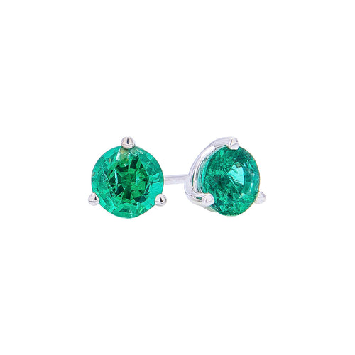 Sabel Collection 18K White Gold Round Emerald Stud Earrings