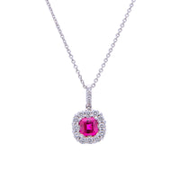Sabel Collection 18K White Gold Cushion Shape Ruby with Diamond Halo Pendant