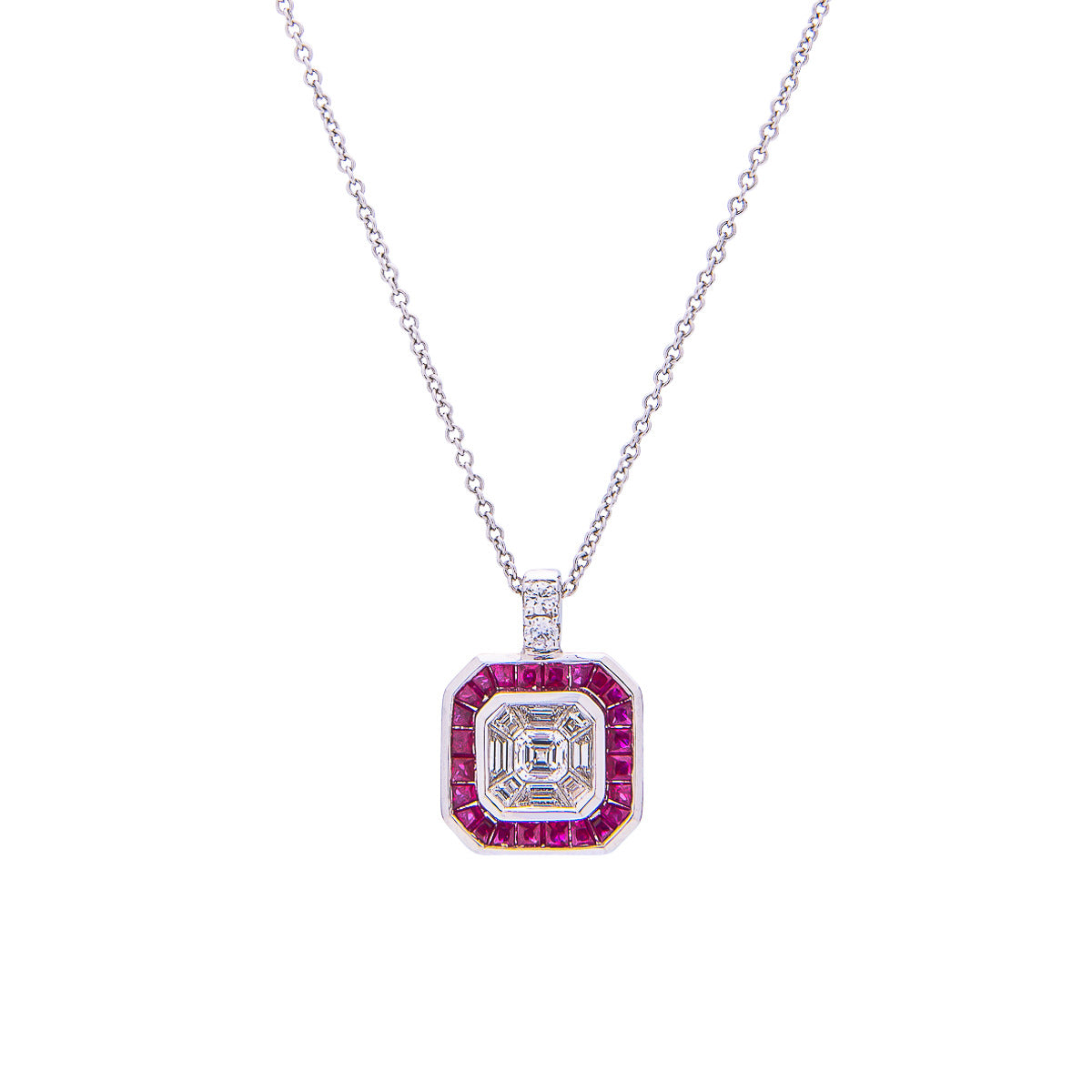Sabel Collection 18K White Multi-Shape Diamond with Ruby Accent Pendant Necklace