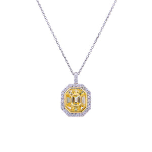 Sabel Collection 18K Two Tone Gold Multi-Shape Yellow Sapphire with Diamond Halo Pendant Necklace