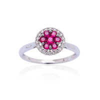 Sabel Collection 18K White Gold Cluster Multi-Shape Ruby and Round Diamond Halo Ring