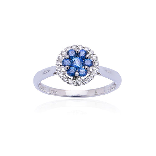 Sabel Collection 18K White Gold Cluster Multi-Shape Sapphires and Round Diamond Halo Ring