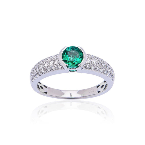 Sabel Collection 18K White Gold Emerald and Diamond Accent Ring