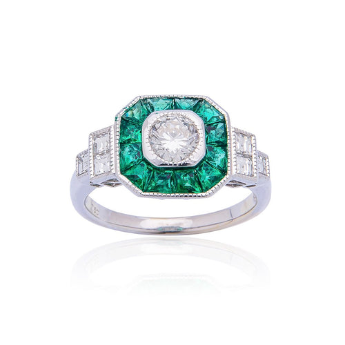 Sabel Collection 18K White Gold Diamond and Emerald Halo Ring