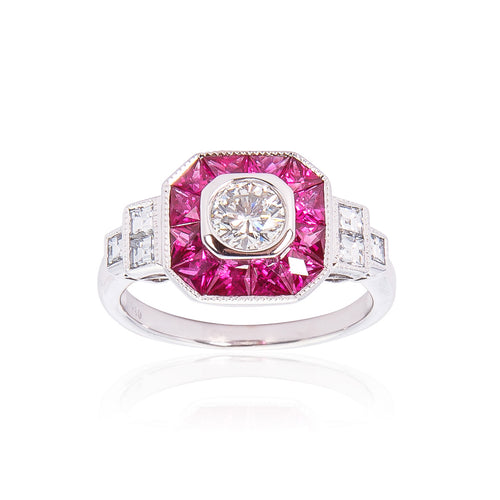 Sabel Collection 18K White Gold Diamond and Ruby Ring