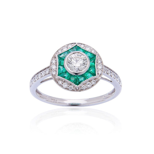 Sabel Collection 18K White Gold Diamond and Emerald Ring