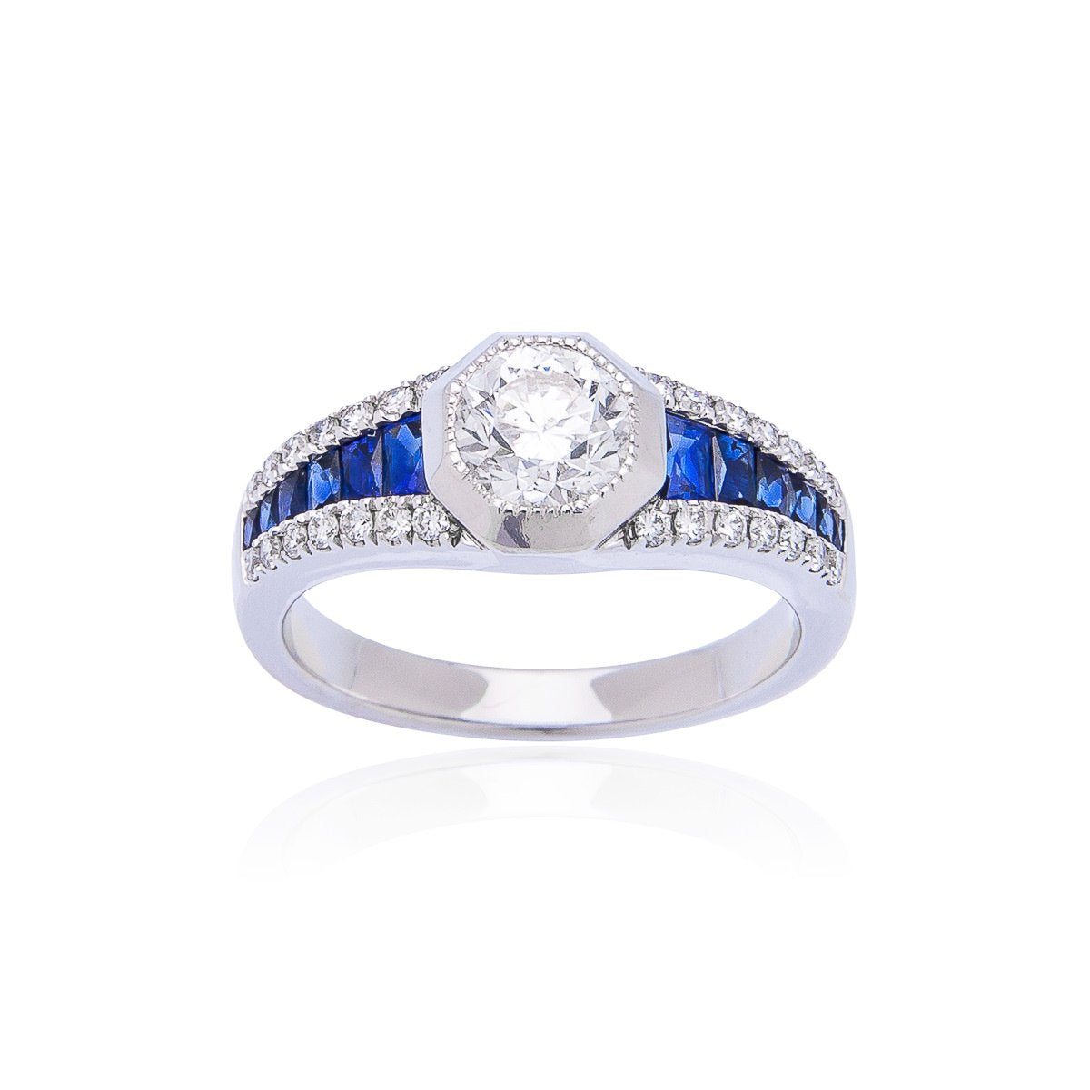 90ct Diamond Ring With Sapphire Accents Sabel Fink S